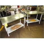 "Lot of Stainless Steel Tables (2) 24"" W X 48"" L X 33"" T, mild steel legs & shelf"
