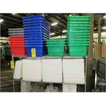 "Lot of Green/Blue/Red Plastic Totes, (34) 12"" W X 24"" L X 8"" D, with (48) Lids, (4) Totes & (7) Lids"