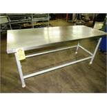 "Portable Stainless Steel Table, 30"" W X 6' L X 35"" T, mild steel legs"
