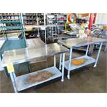 "Lot of Portable Stainless Steel Tables, (1) 30"" W X 4' L X 35"" T, mild steel legs (1) 24"" W X 4' L X"
