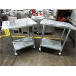 "Lot of Stainless Steel Tables (2) 24"" W X 30"" L X 36"" T, mild steel legs & shelf, (1) missing wheel"