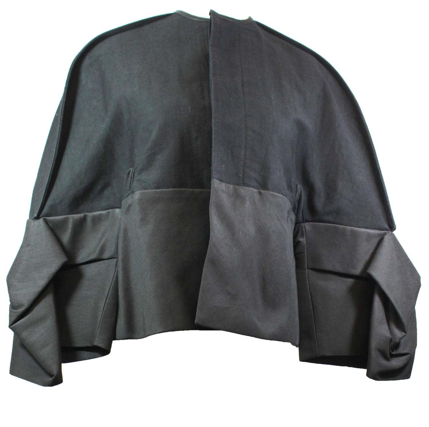 Lot 379 - RICK OWENS, BLACK COTTON JACKET With angel sleeves and hidden buttons along middle, with price