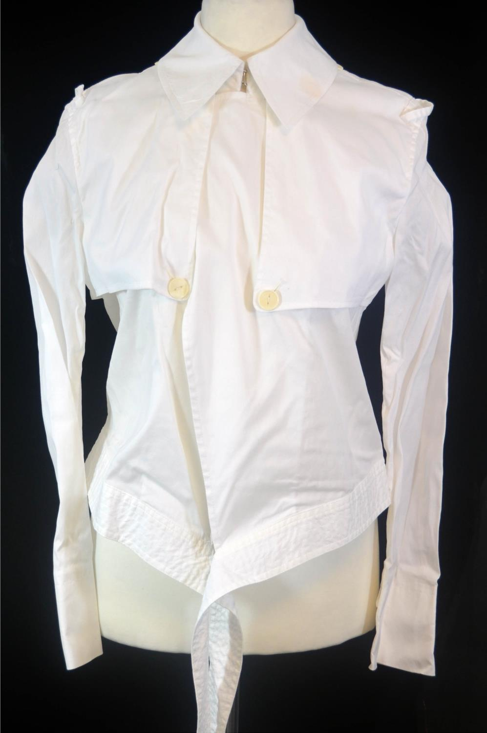 Lot 273 - GAULTIER 2, WHITE COTTON SHIRT With cream buttons, folds of fabric, long length of fabric belt tie