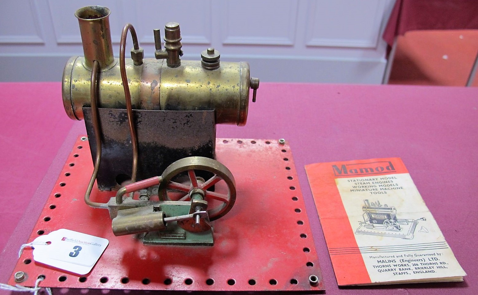 Lot 3 - A Mamod Live Steam Model SE2 Steam Engine,early flat base, model has been steamed, no burner,