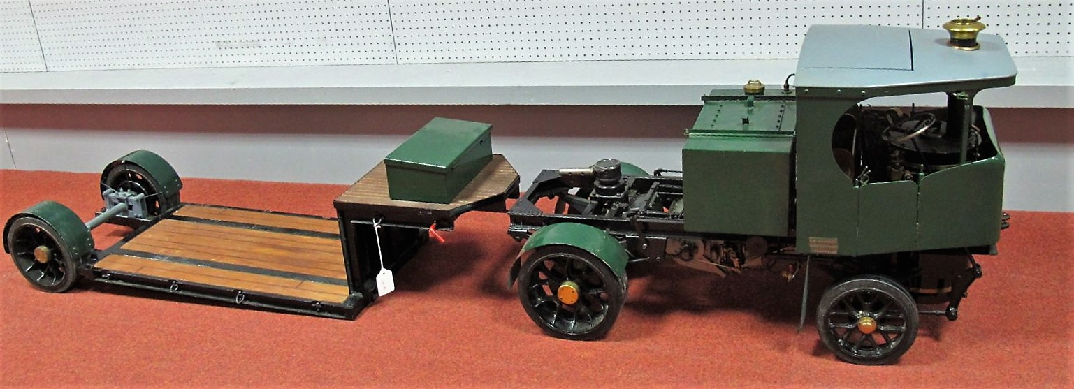 """Lot 37 - A 2"""" Scale Live Steam Model of a Clayton Undertype Steam Wagon, with articulated low loader timbered"""