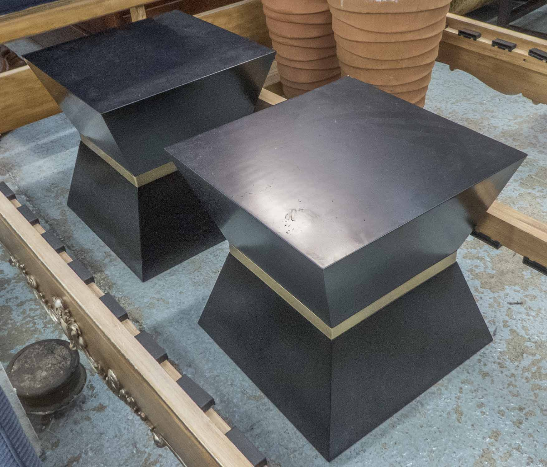 Lot 14 - BUXTON SIDE TABLES, a pair, waisted ebonised with brass strip to middle, 50cm x 50cm 50cm H.