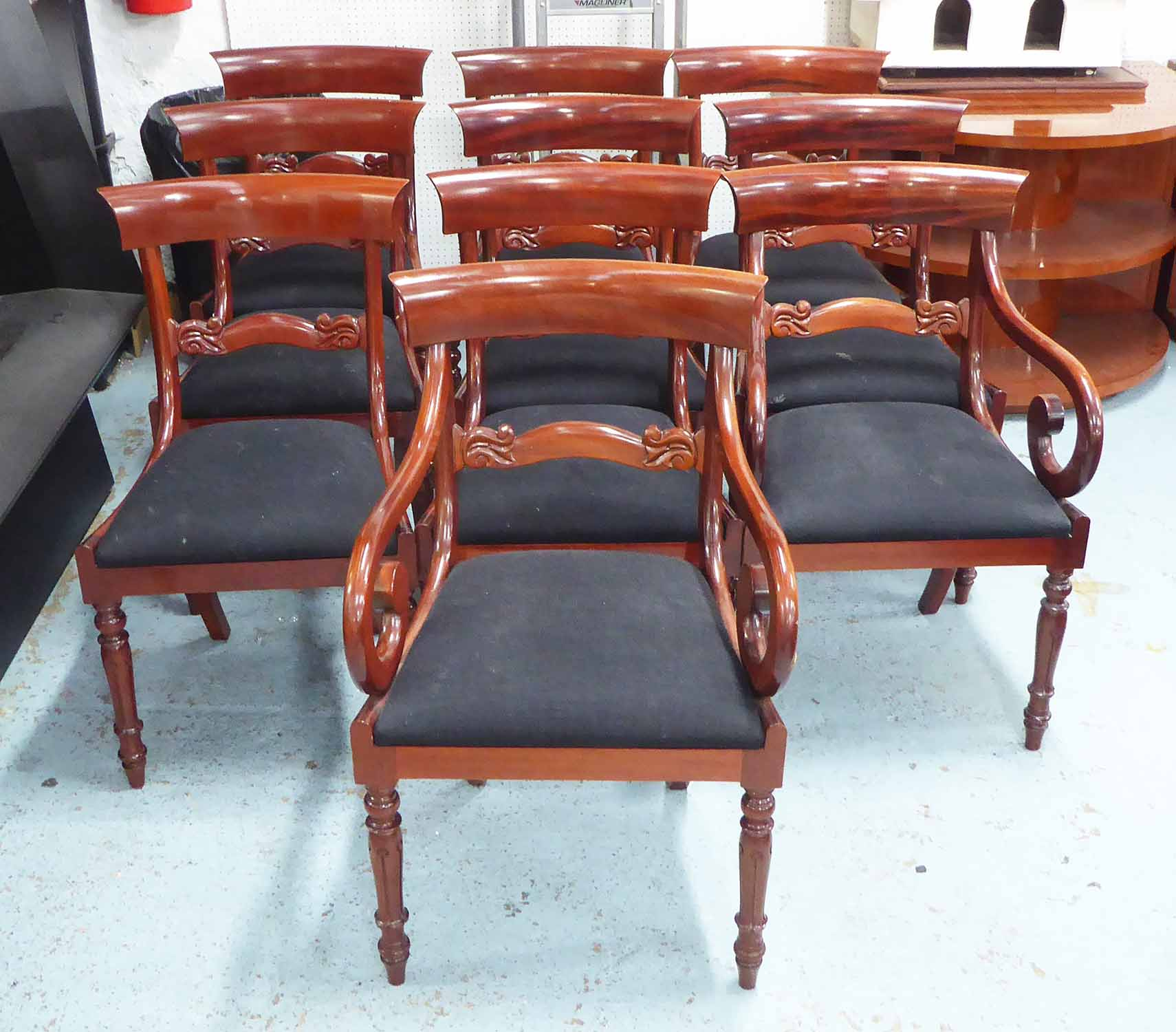 Lot 43 - DINING CHAIRS, a set of ten, including two carvers, William IV style, mahogany,