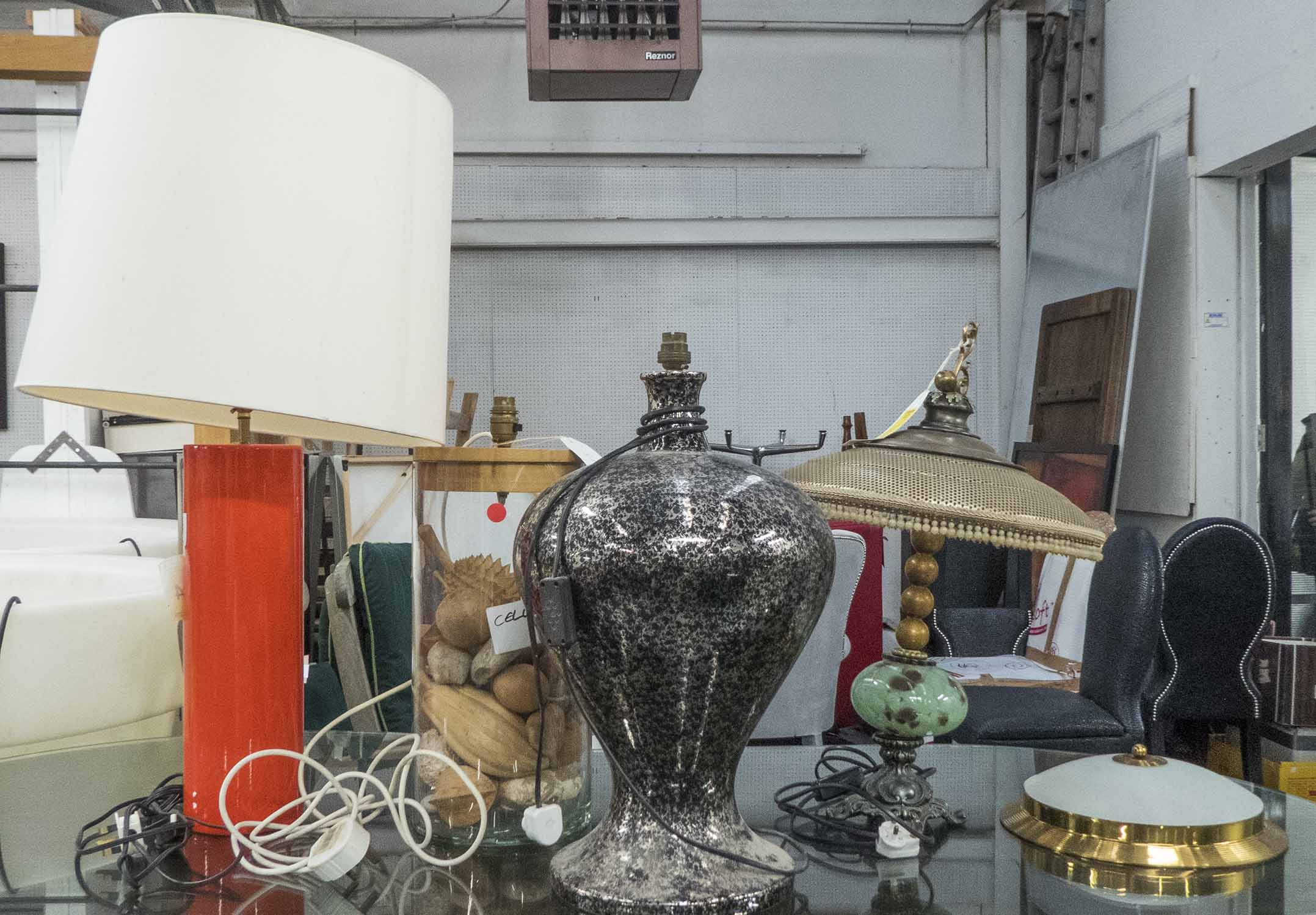 Lot 44 - TABLE LAMP, orange with shade, base 42cm H,