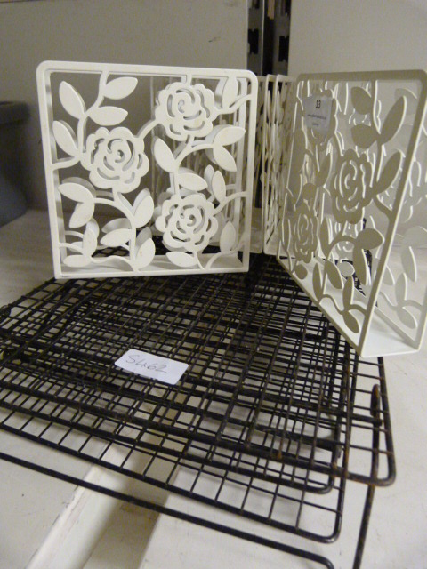 Lot 13 - Seven Metal Menu Holders and Three Wire Trays
