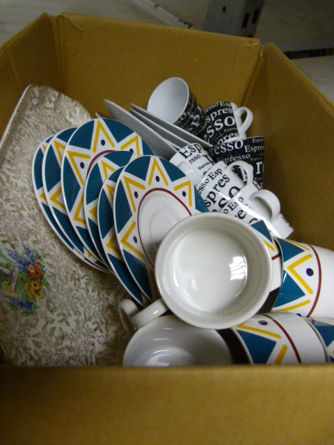 Lot 19 - Box of Espresso Cups & Saucers, etc.