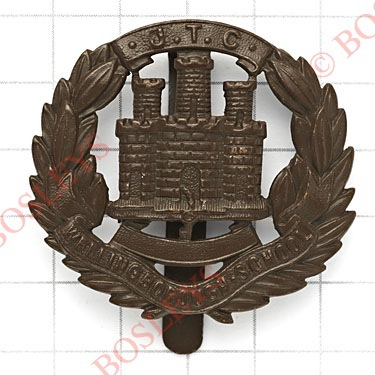 Lot 459 - Wellingborough School JTC cap badge circa 1940-48.Scarce die-stamped bronzed example following the