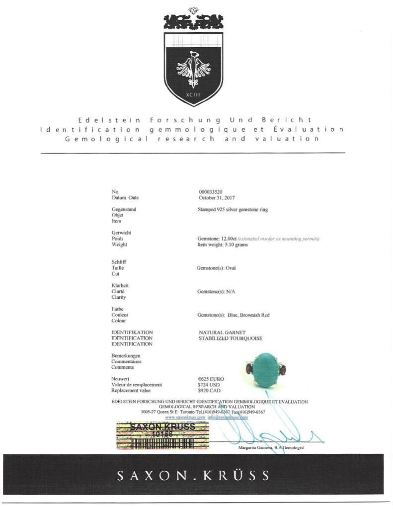 Lot 42 - Sterling Silver Arizona Turquoise Garnet Ring. Insurance Value $920