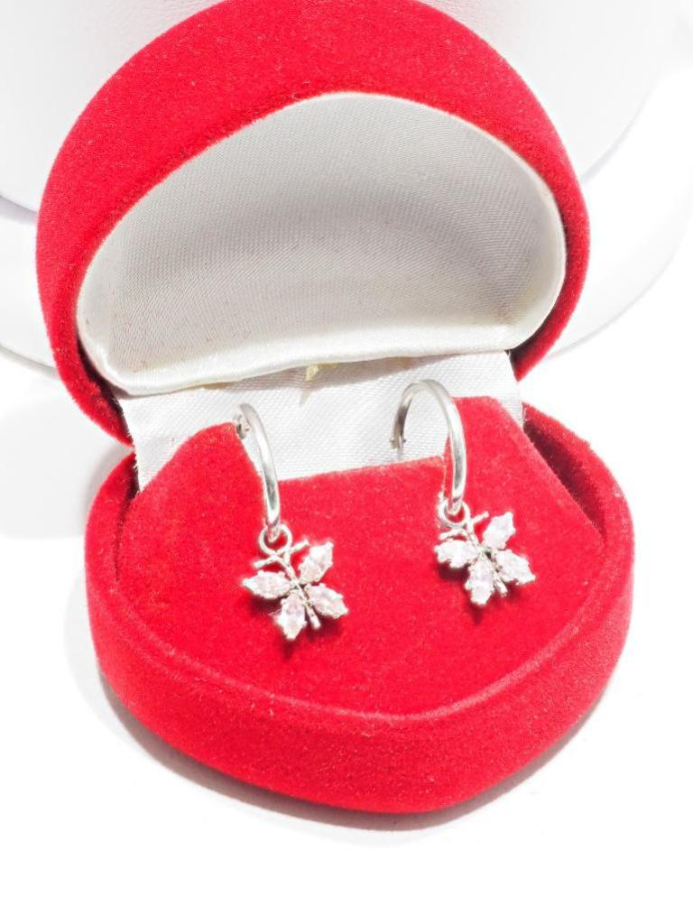 Lot 24 - 14kt Hoop Pink CZ Butterfly Earrings. Retail $400