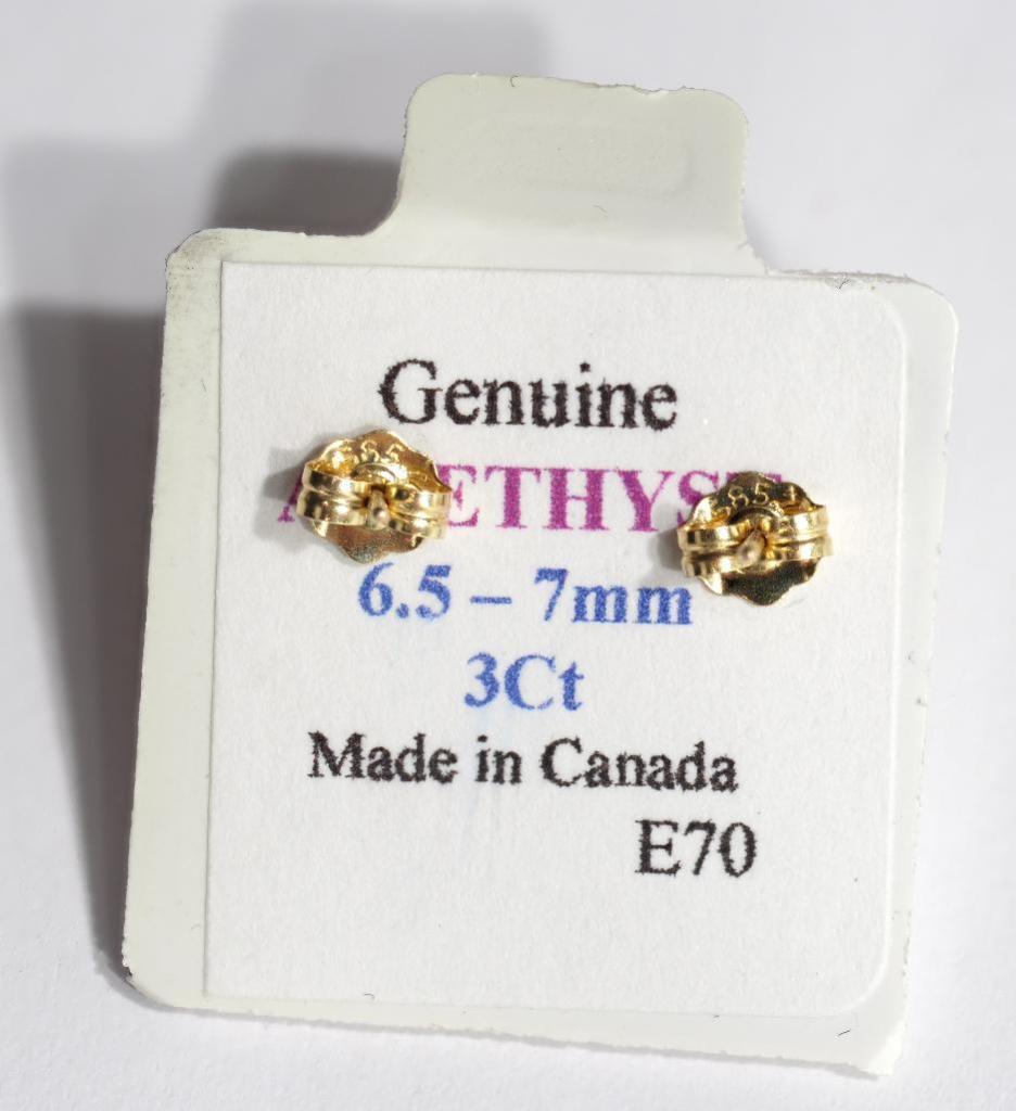 Lot 19 - 10kt Gold Genuine Amethyst (February Birthstone, 7mm 3ct) Earrings. Retail $250