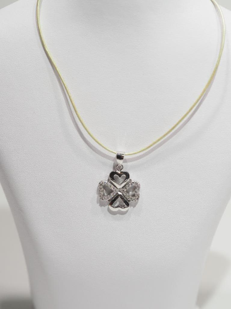 Lot 38 - Sterling Silver Shamrock Pendant on High Fashion Wire Retail $150