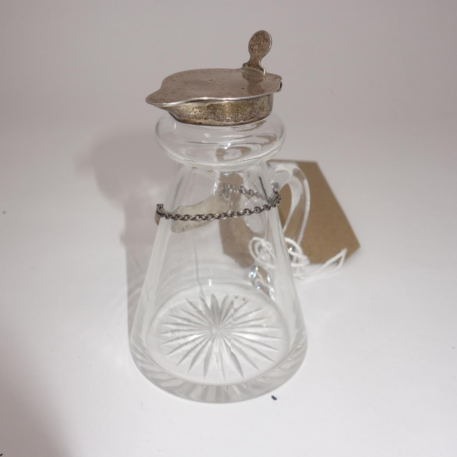 A Victorian glass and silver whiskey noggin, with a silver hinged lid and collar, Birmingham 1913,