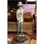 An Art Deco style cast bronze of 'The Whip Girl' after Bruno Zach, without whip, bearing