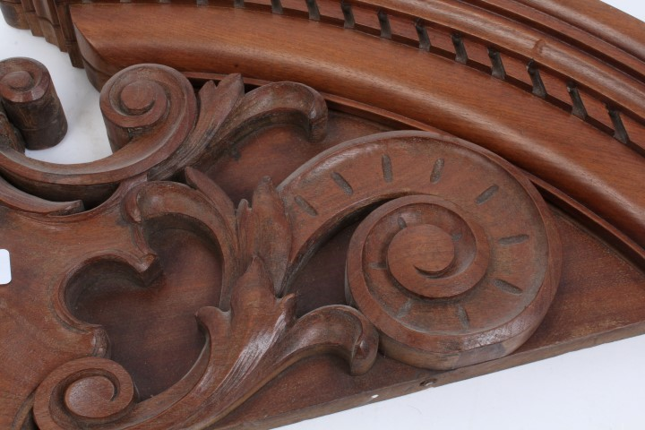Finely carved 19th century oak demilune pediment with