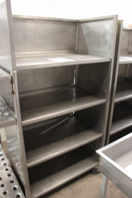 Lot 287 - Stainless steel four tier mobile shelving rack 1000mm x 600mm x 1860mm