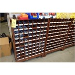 (2) Brown Parts Shelves w/ Assorted Hex Cap Fasteners, Washers, Nuts