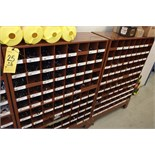 (2) Brown Parts Shelves w/ Assorted Machinery Fasteners