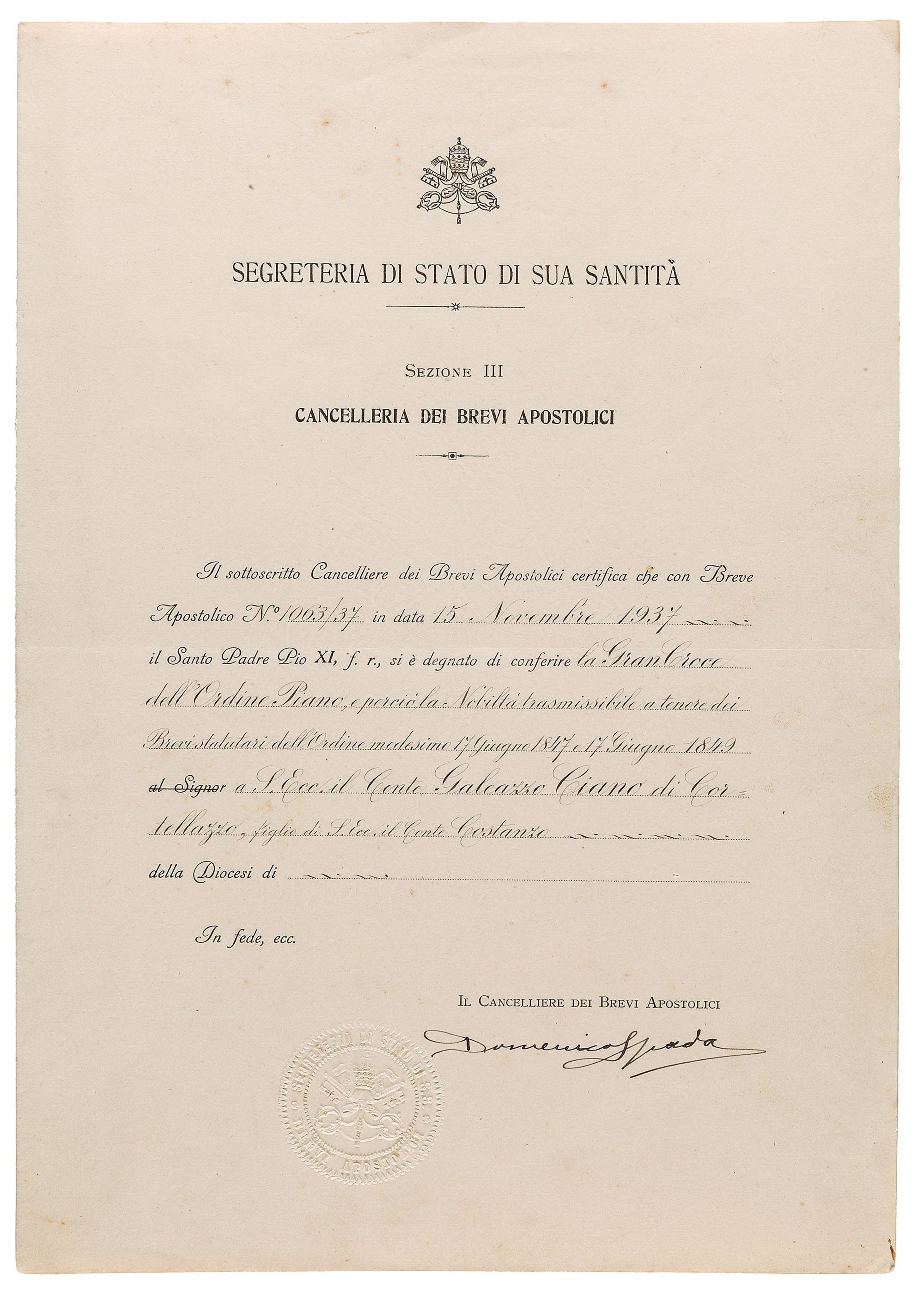 Fascia con scatola non pertinente diploma datato 1937 lot 948 ordine piano vaticano thecheapjerseys Image collections