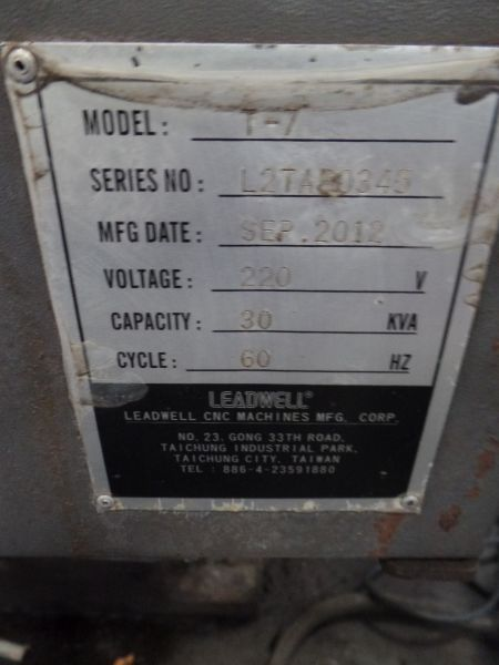 """Leadwell T-7, Fanuc 0i-TD, 20.4"""" SW, 13.8"""" Max. Turn Dia. x 21.6"""" Max. Turn Length, 2.4"""" Spindle - Image 7 of 7"""