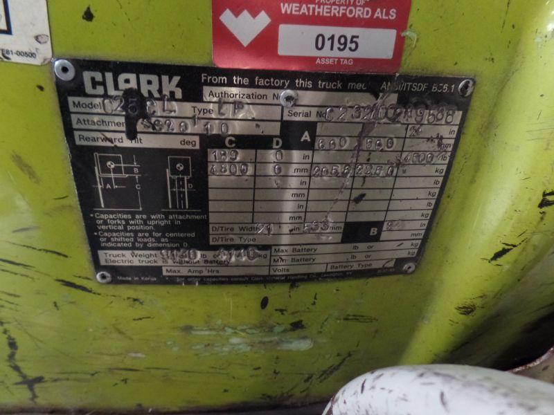 Clark C25 CL 4500lbs Cap. LPG Forklift, s/n C23200289588 *Needs Battery* - Image 4 of 4