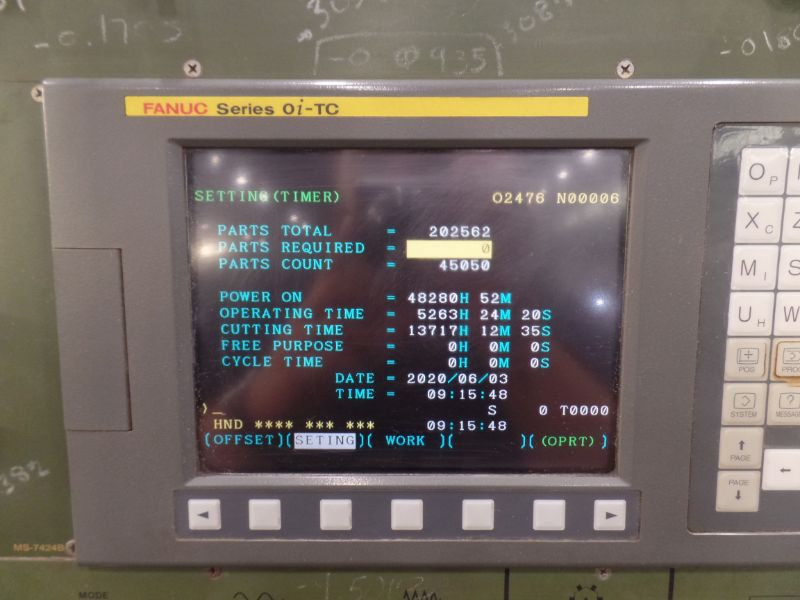 """Fortune Vturn-26, Fanuc 0i-TC, 20.5"""" SW, 15"""" Max. Turn Dia. x 25.6"""" Centers, 3.4"""" Spindle Bore, - Image 7 of 8"""