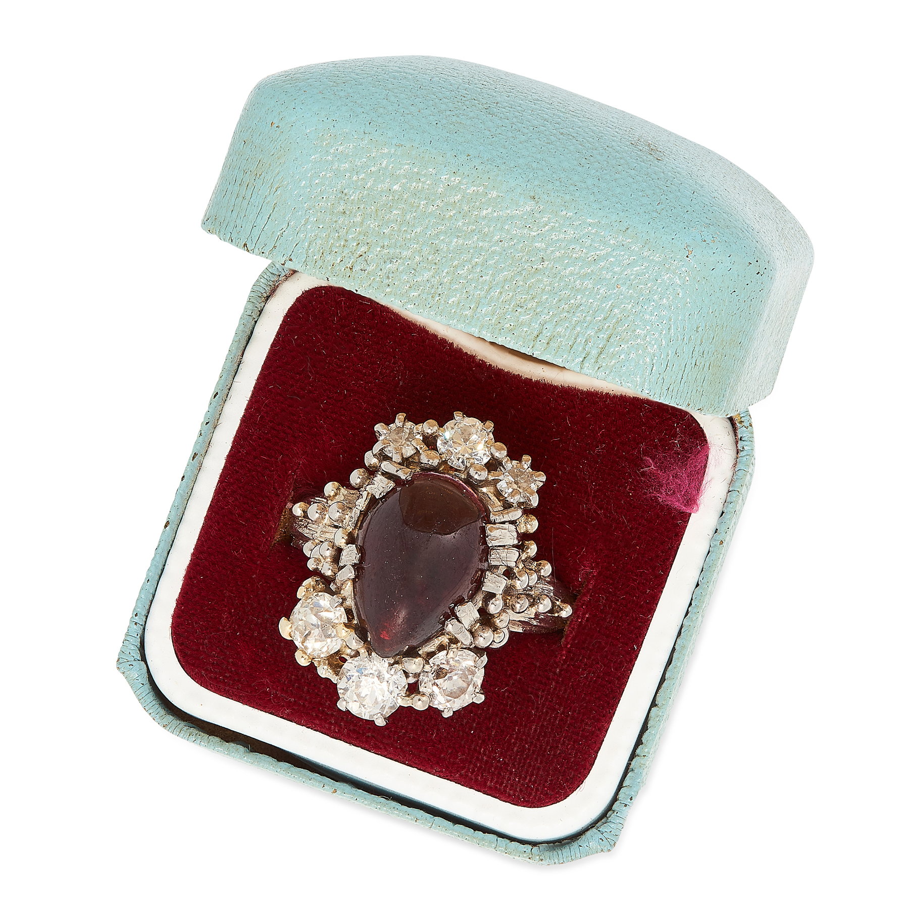 A VINTAGE GARNET AND DIAMOND RING, 1976 in 18ct white gold, set with an antique garnet cabochon - Image 2 of 2