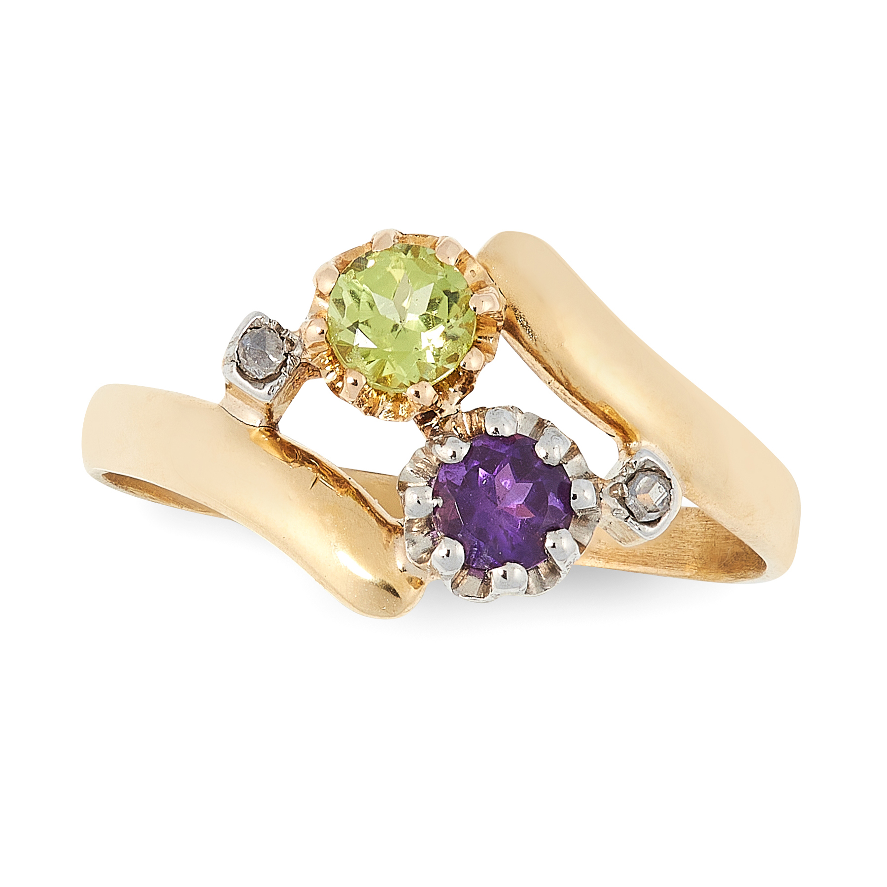 AN ANTIQUE AMETHYST, PERIDOT AND DIAMOND SUFFRAGETTE RING in 18ct yellow gold, of crossover