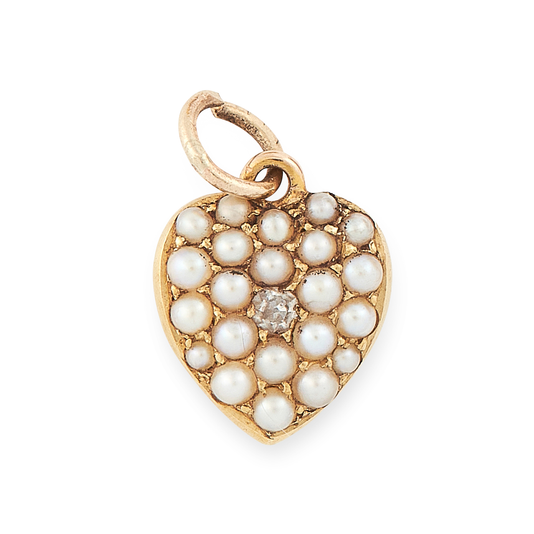AN ANTIQUE PEARL AND DIAMOND HEART PENDANT / CHARM in 15ct yellow gold, designed as a heart, set