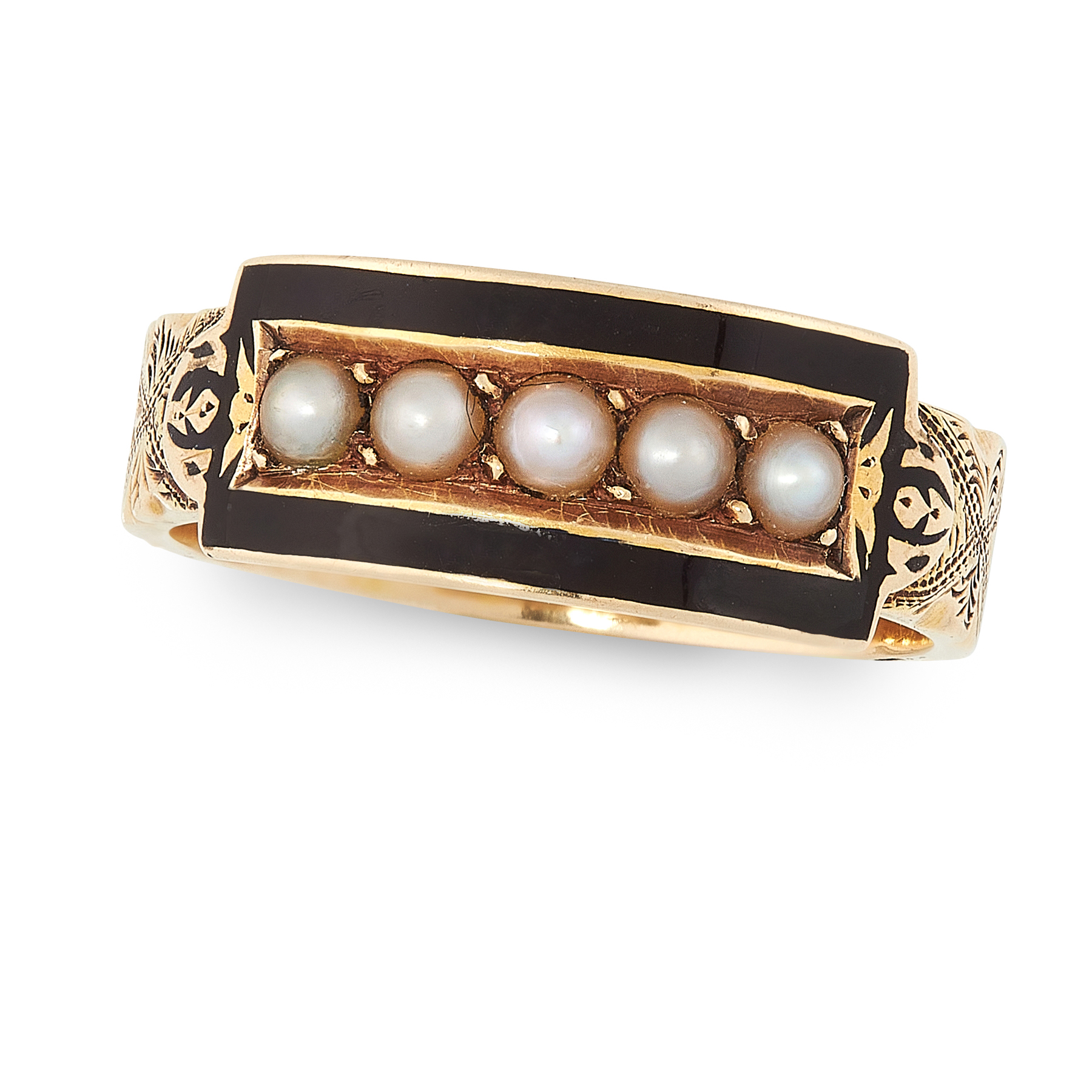 AN ANTIQUE VICTORIAN PEARL AND ENAMEL RING CIRCA 1886 in 15ct yellow old, the band with engraved
