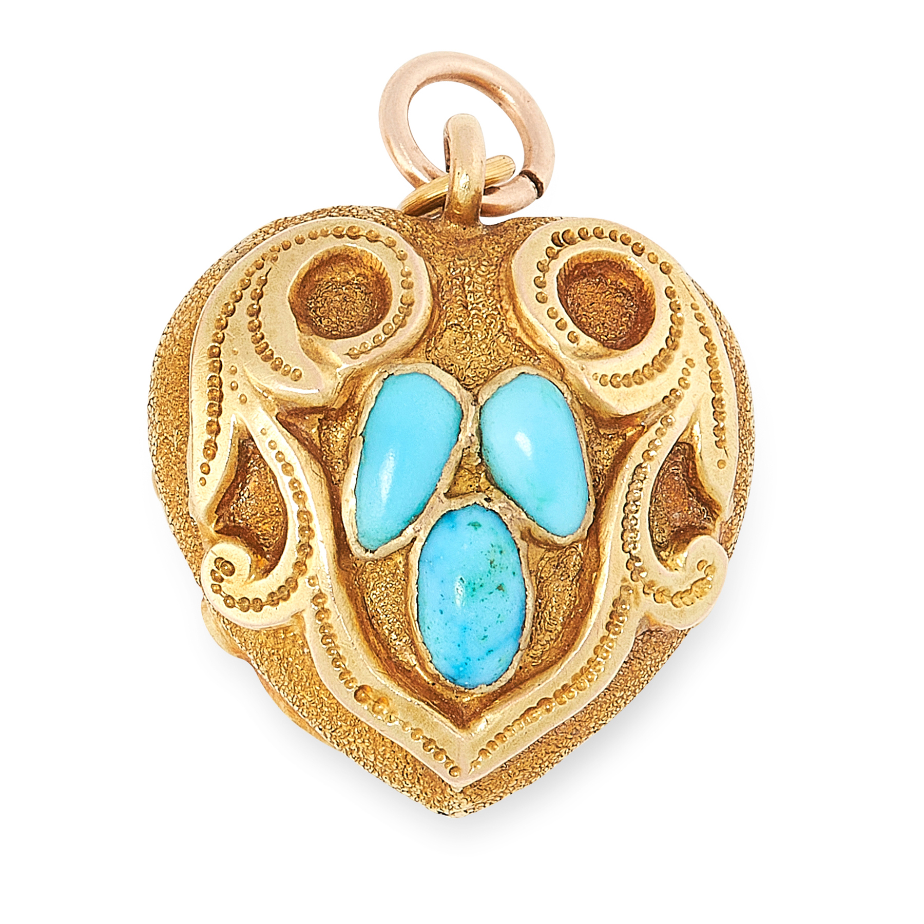 AN ANTIQUE TURQUOISE MOURNING LOCKET PENDNAT in high carat yellow gold, designed as a heart with