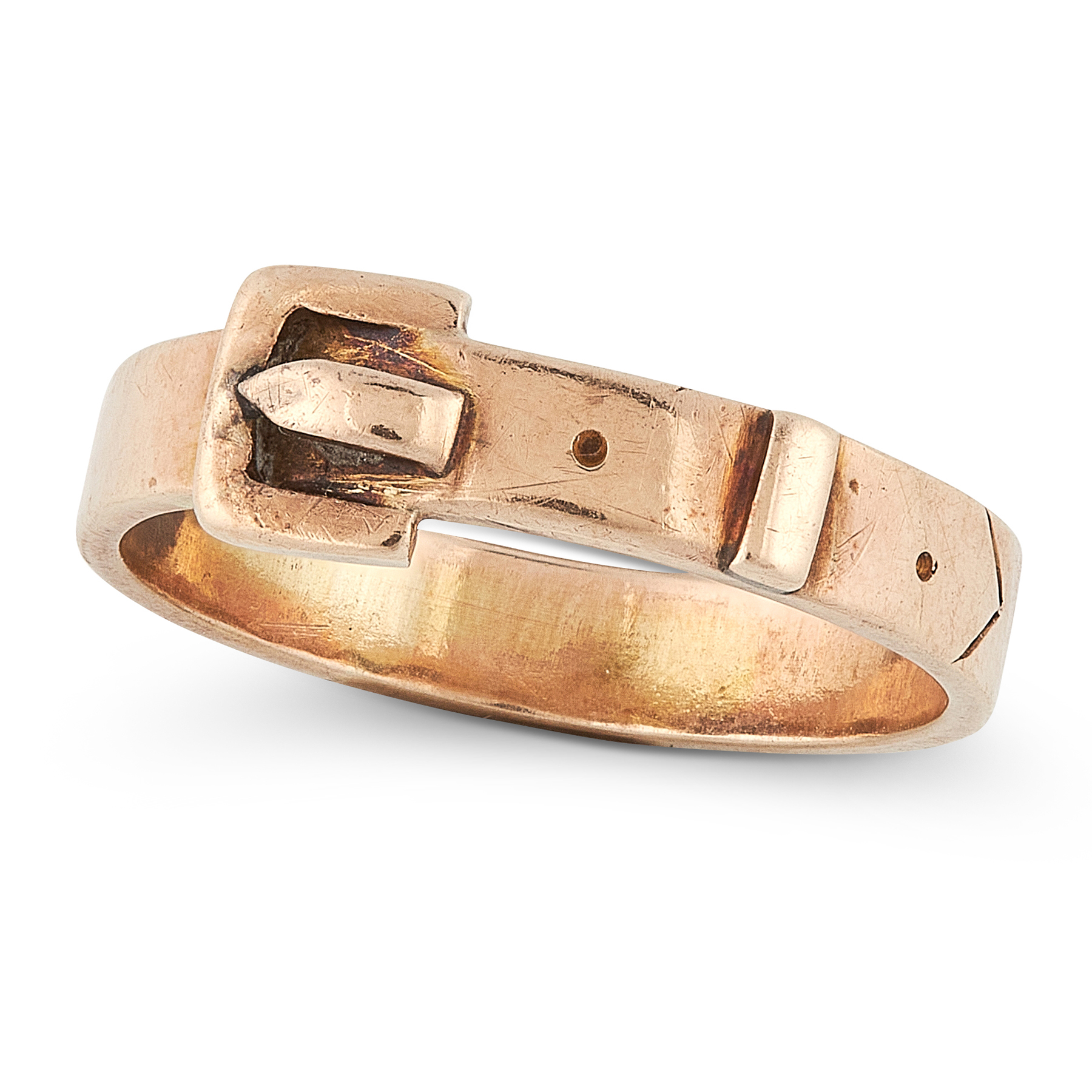A BUCKLE RING in yellow gold, designed as a belt buckle, coiled around on itself, stamped 9ct,