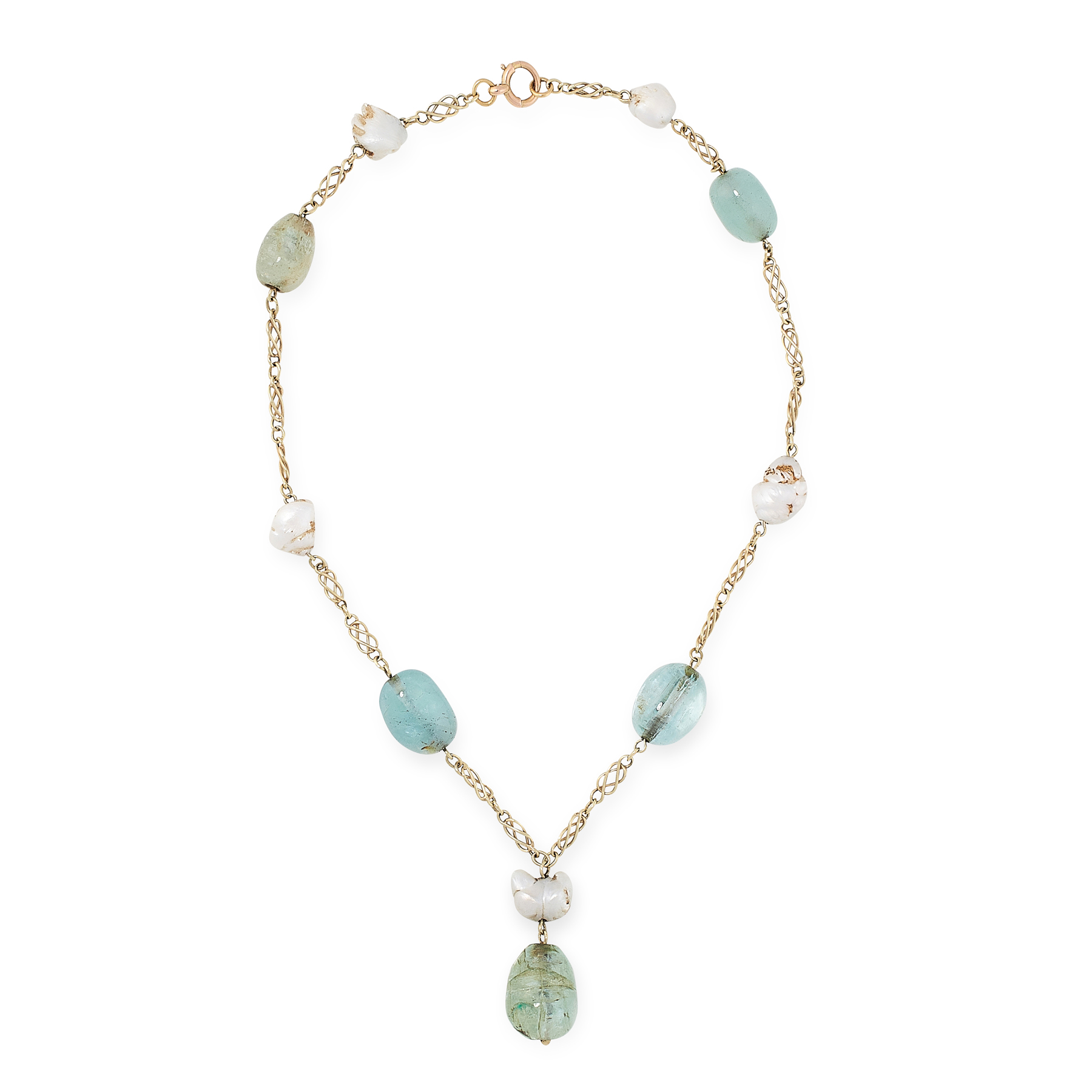 AN EMERALD, AQUAMARINE AND NATURAL PEARL NECKLACE in yellow gold, set with polished emerald and
