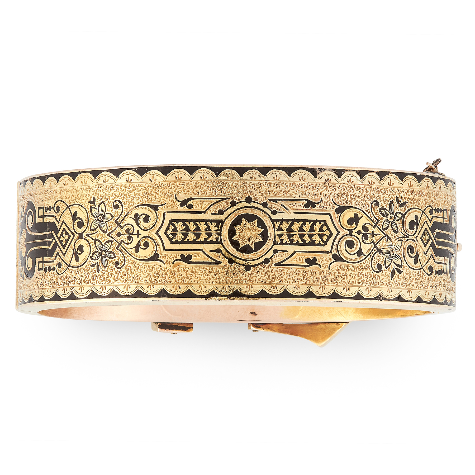 A FINE ANTIQUE ENAMEL BUCKLE BANGLE in yellow gold, designed as a fastened belt buckle, engraved and - Image 2 of 2