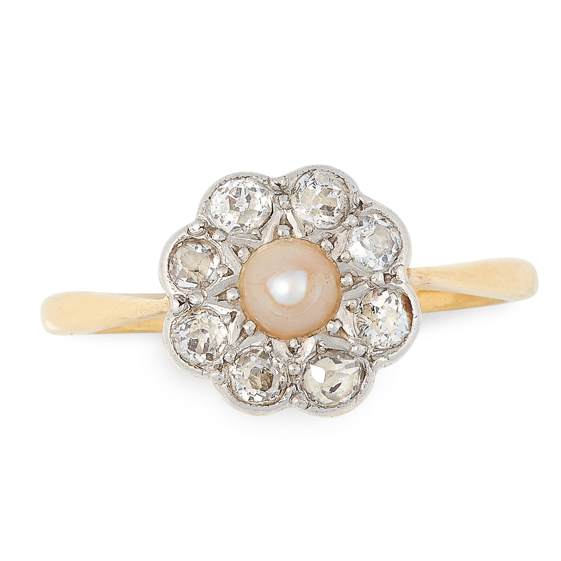 A PEARL AND DIAMOND CLUSTER RING in 18ct yellow gold, set with a pearl within a border of eight
