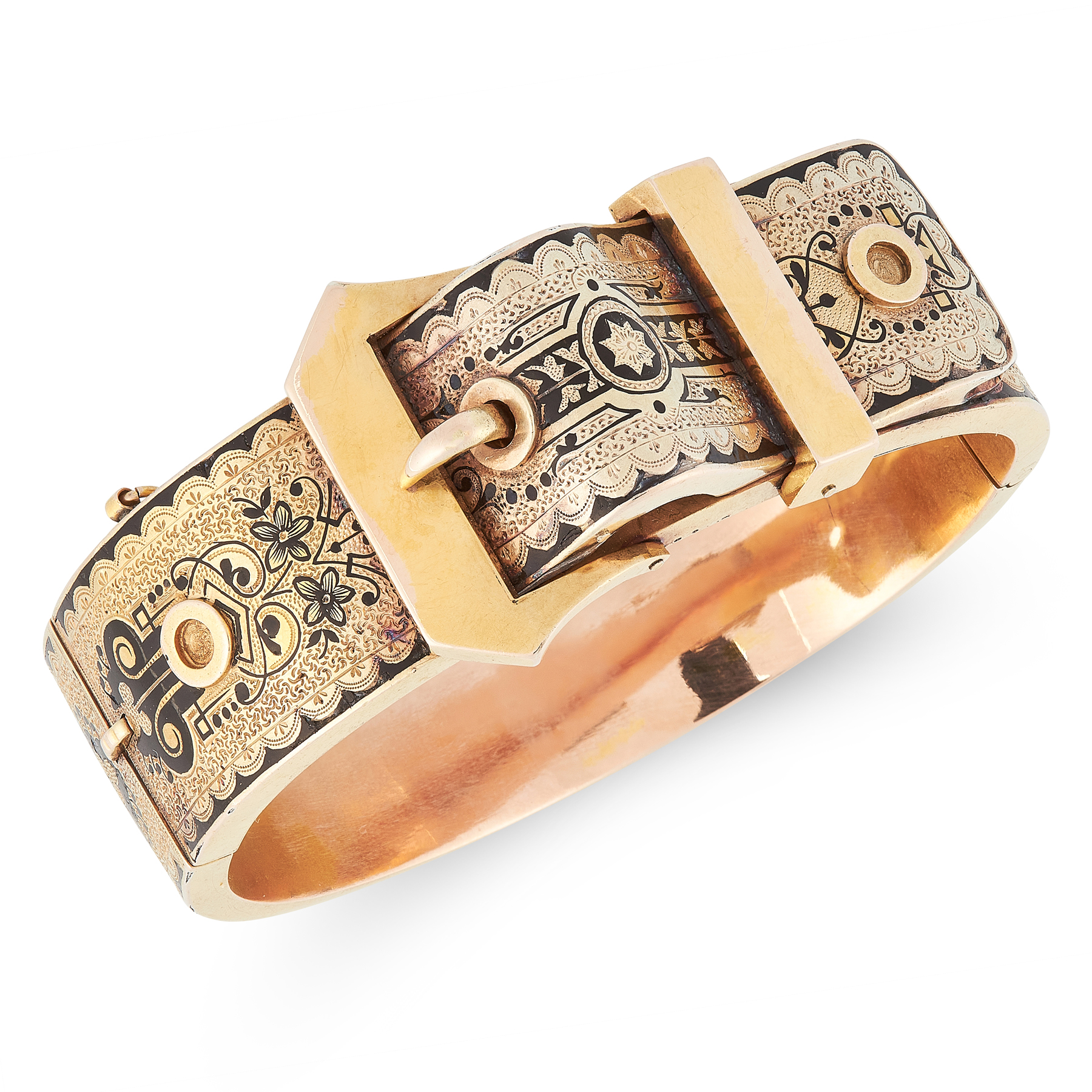A FINE ANTIQUE ENAMEL BUCKLE BANGLE in yellow gold, designed as a fastened belt buckle, engraved and