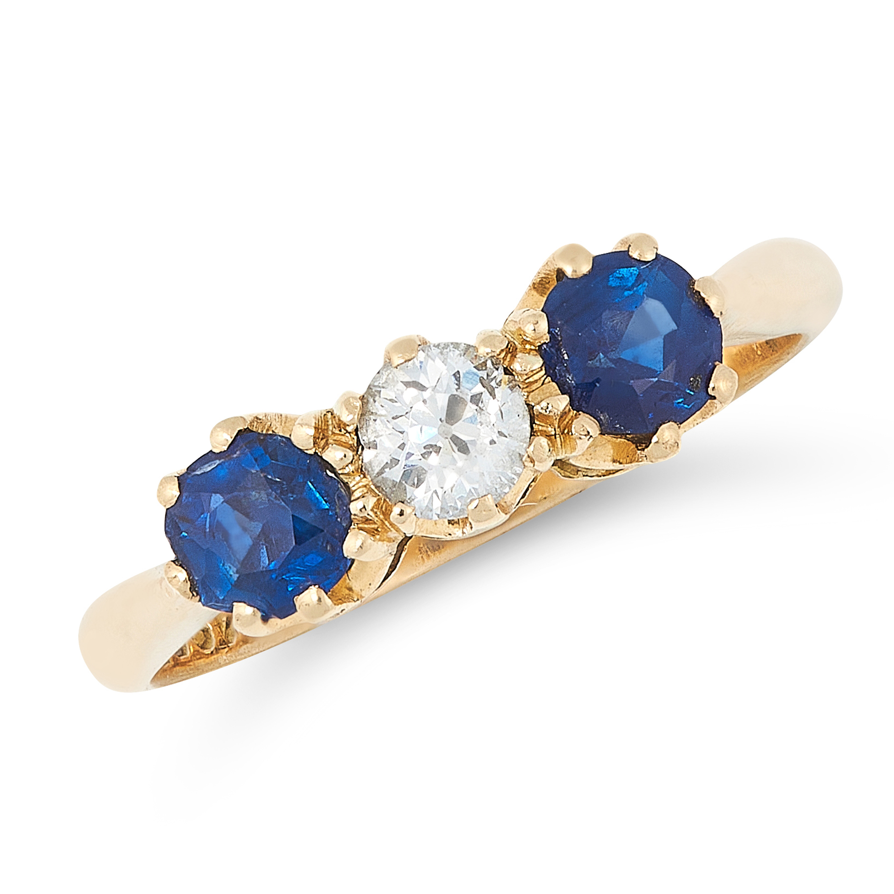 A SAPPHIRE AND DIAMOND DRESS RING in 18ct yellow gold, set with an old cut diamond between two round