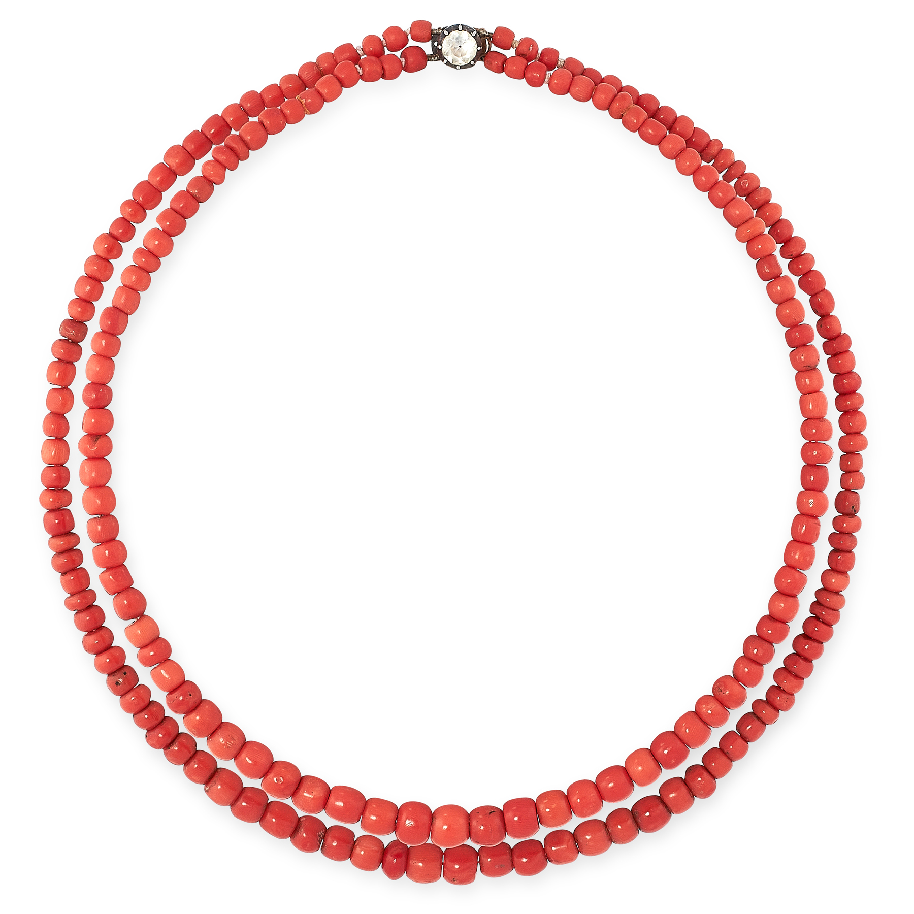 AN ANTIQUE TWO ROW CORAL AND PASTE NECKLACE comprising two graduated rows of polished coral beads