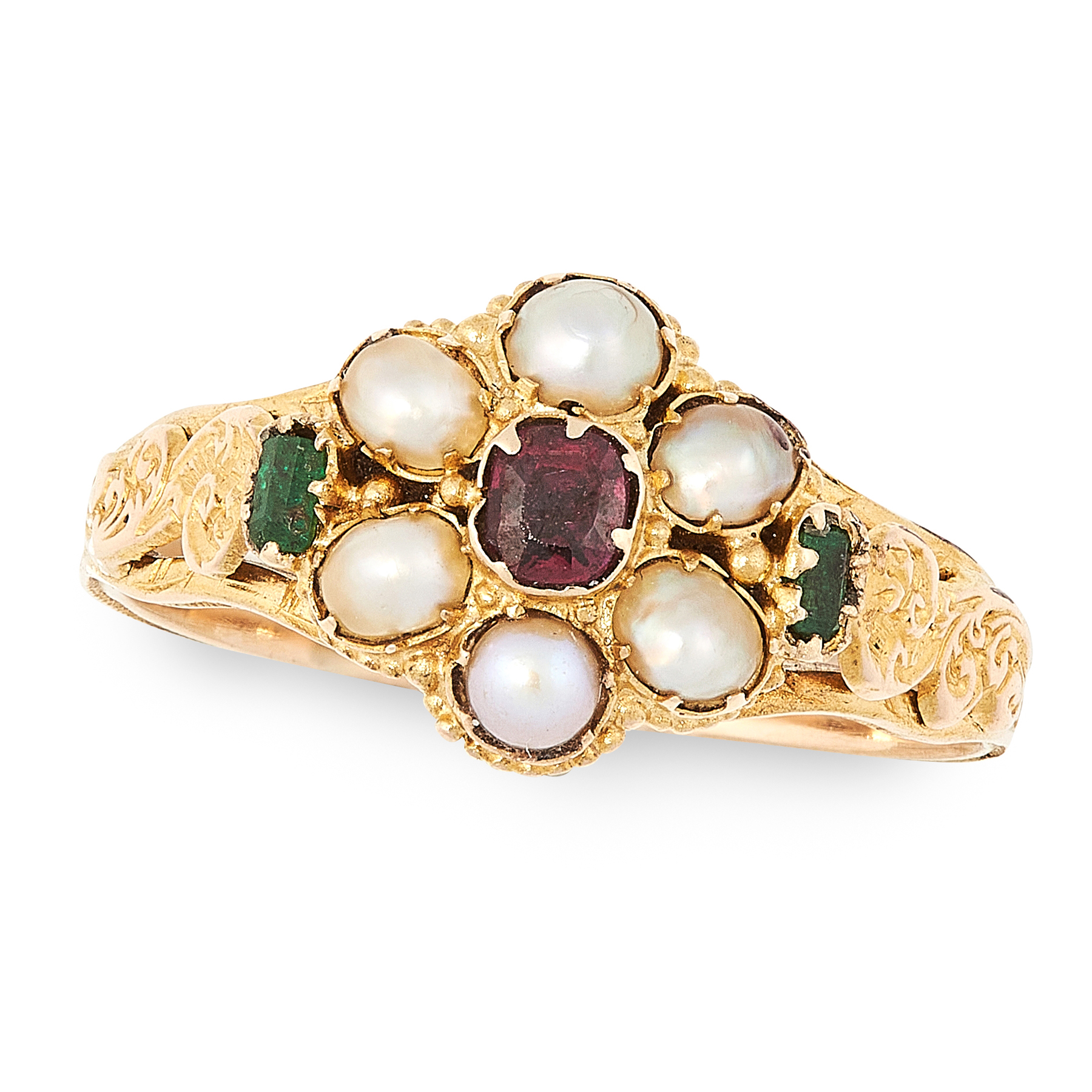 AN ANTIQUE VICTORIAN RUBY, EMERALD AND PEARL RING, 19TH CENTURY in 15ct yellow gold, set with a