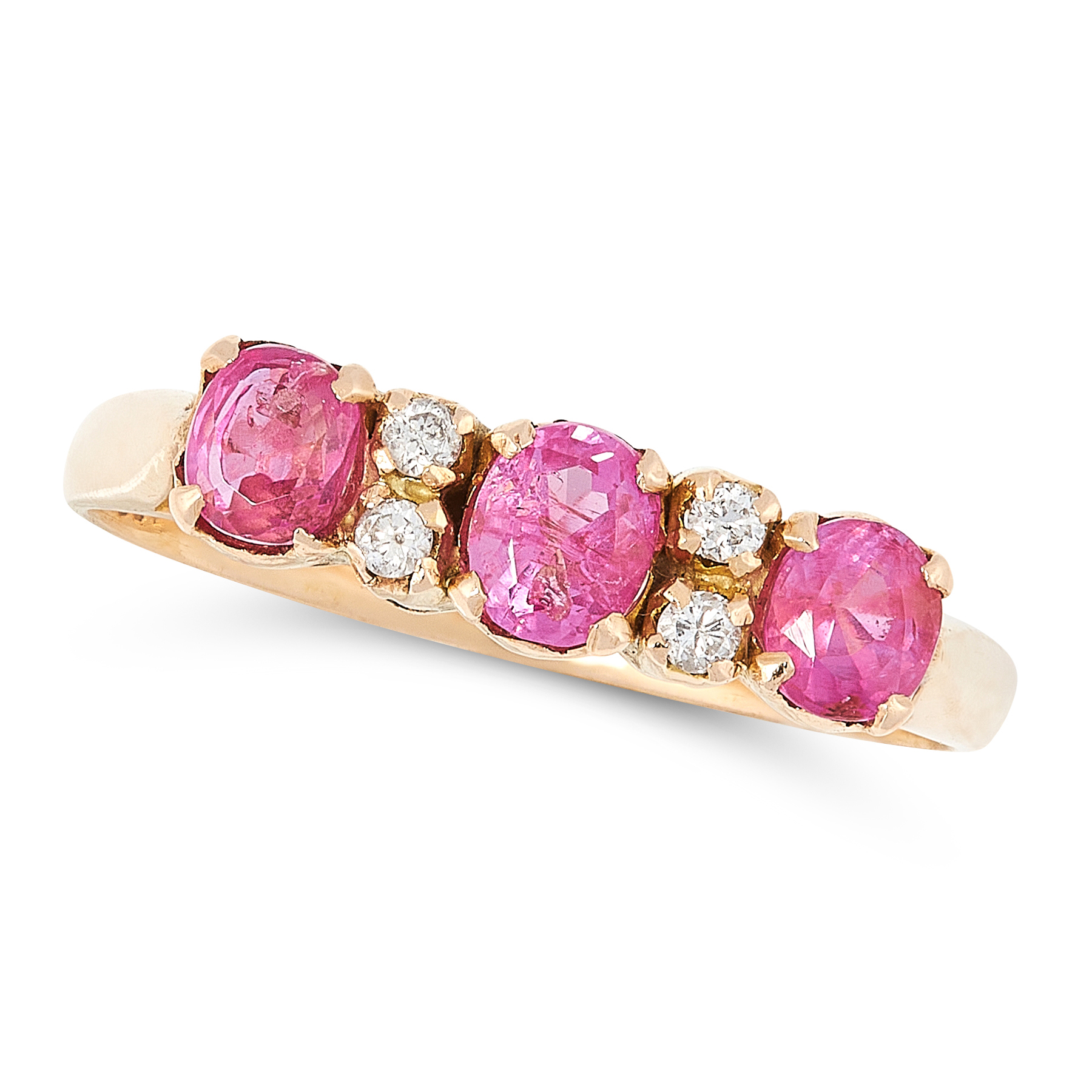 A PINK SAPPHIRE AND DIAMOND RING in 18ct yellow gold, set with a trio of graduated oval cut pink