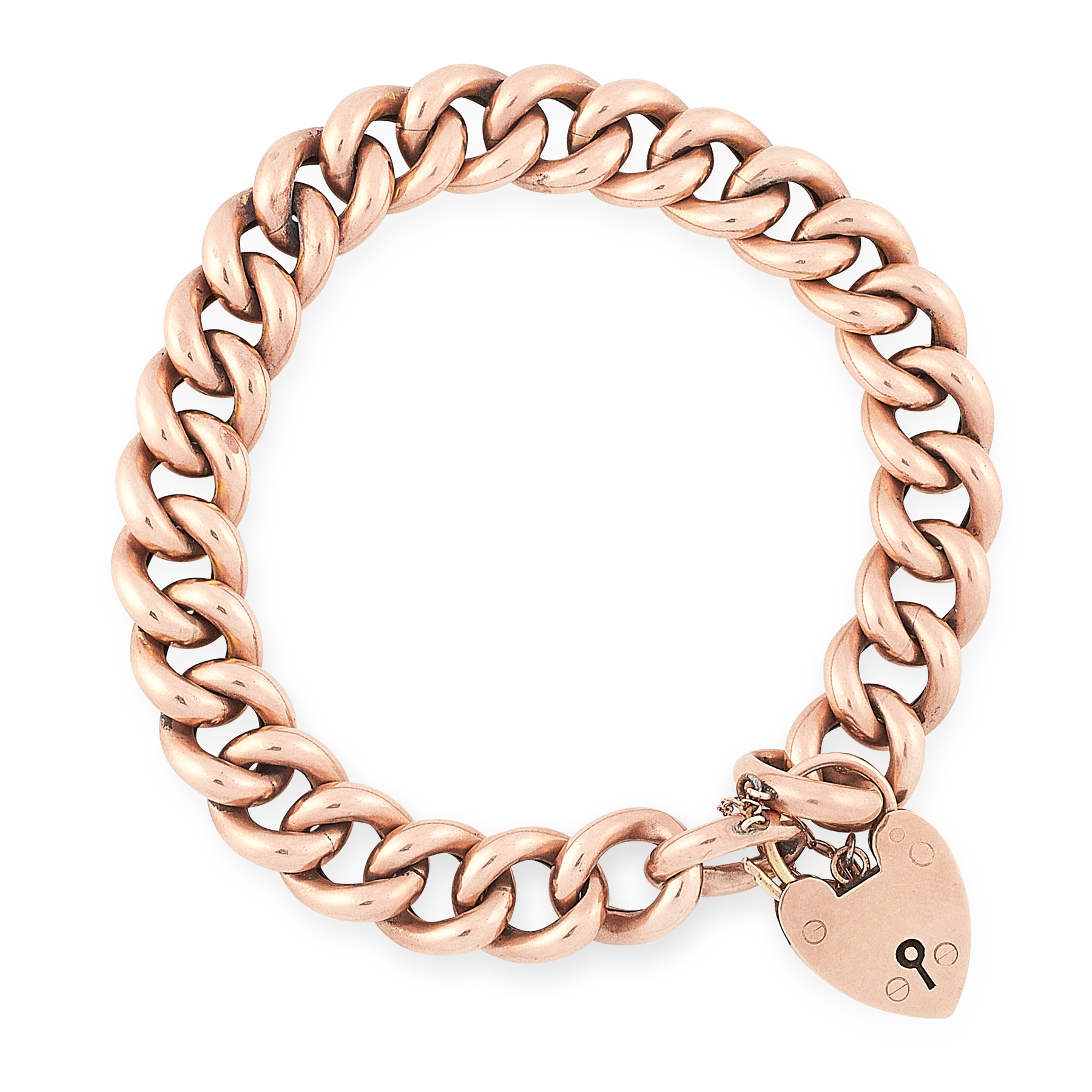 AN ANTIQUE SWEETHEART BRACELET in yellow gold, formed of a chunky curb link bracelet with a heart