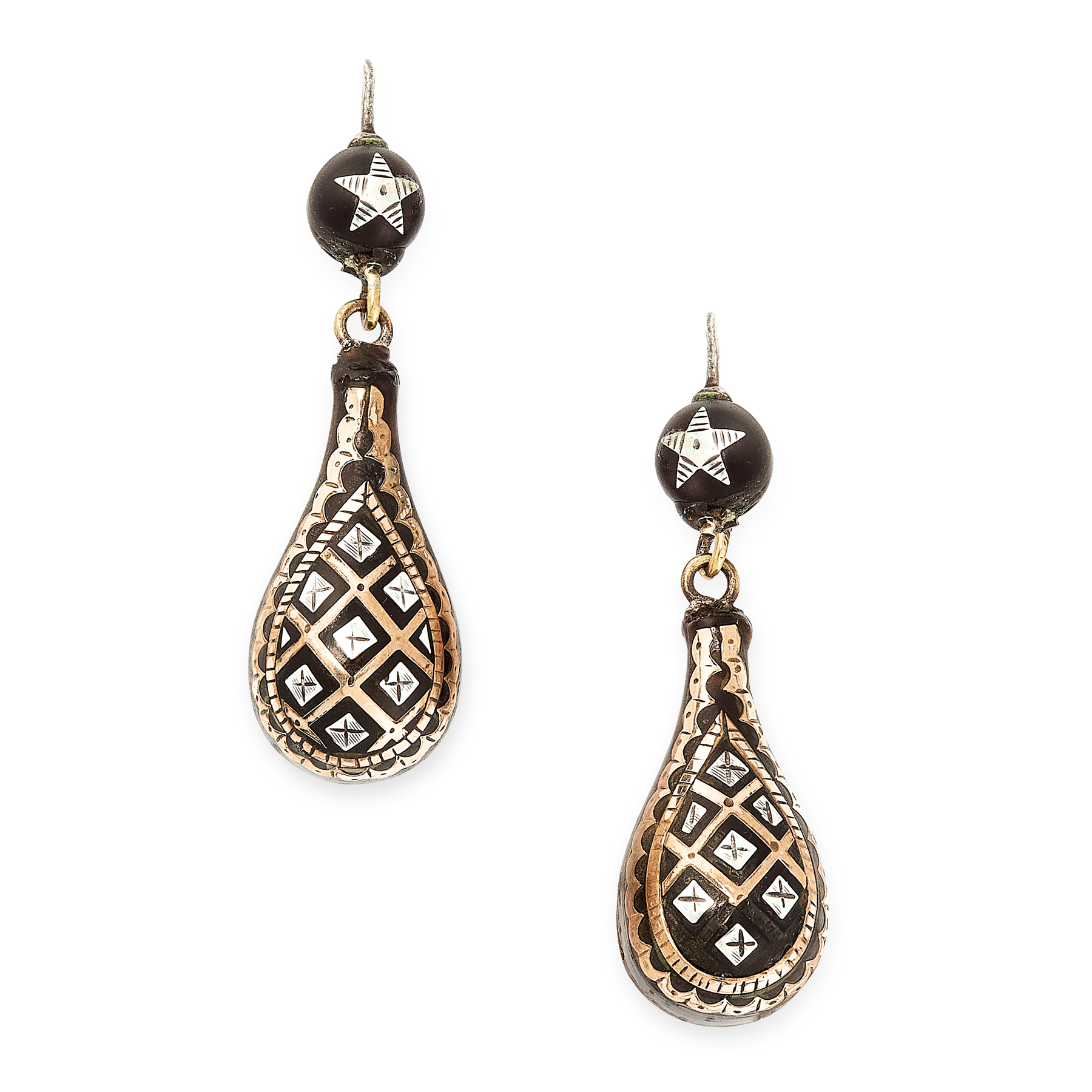 A PAIR OF ANTIQUE PIQUE TORTOISESHELL DROP EARRINGS, 19TH CENTURY in gold, each of tapering form,