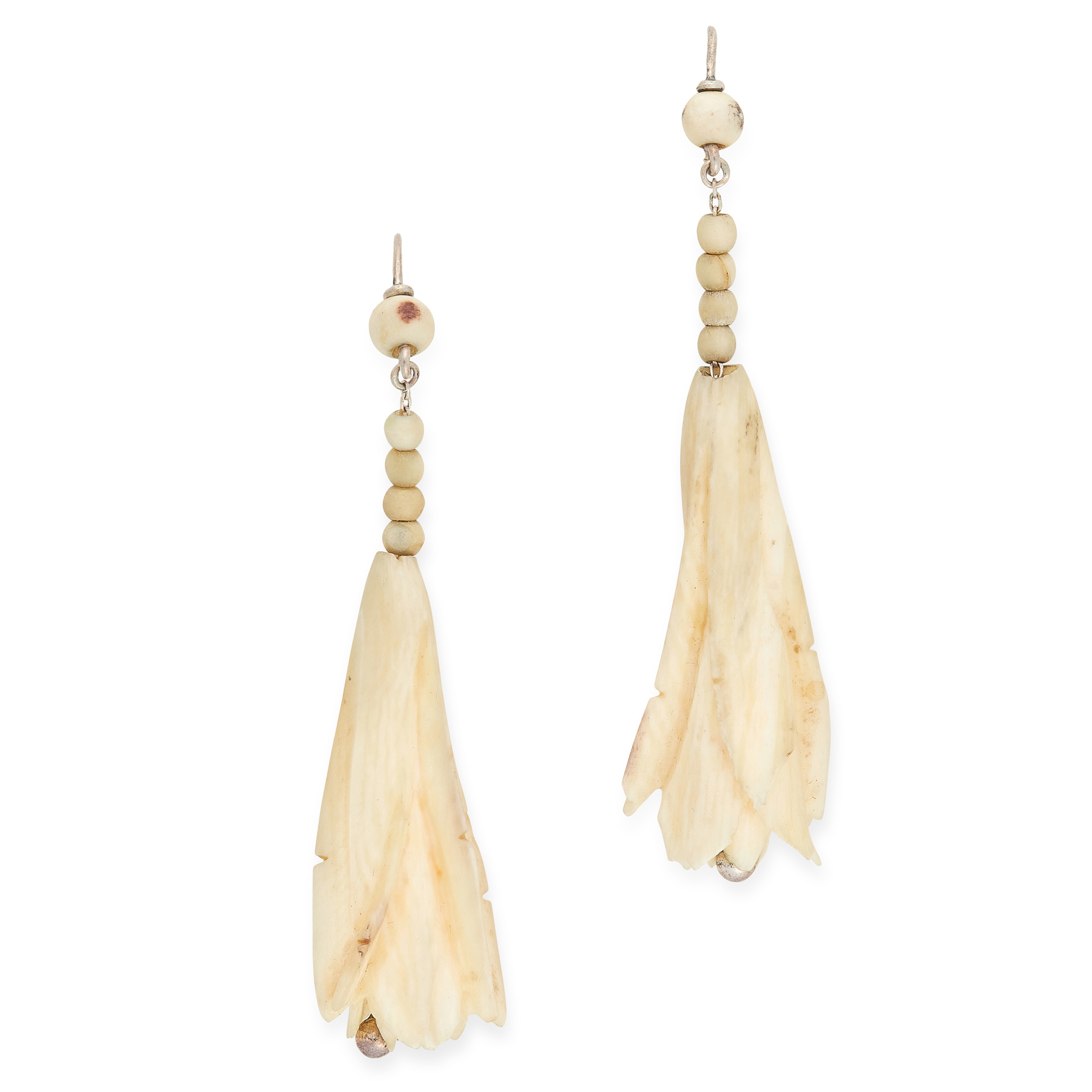 A PAIR OF ANTIQUE VICTORIAN IVORY FUSCHIA EARRINGS, 19TH CENTURY in sterling silver, each carved