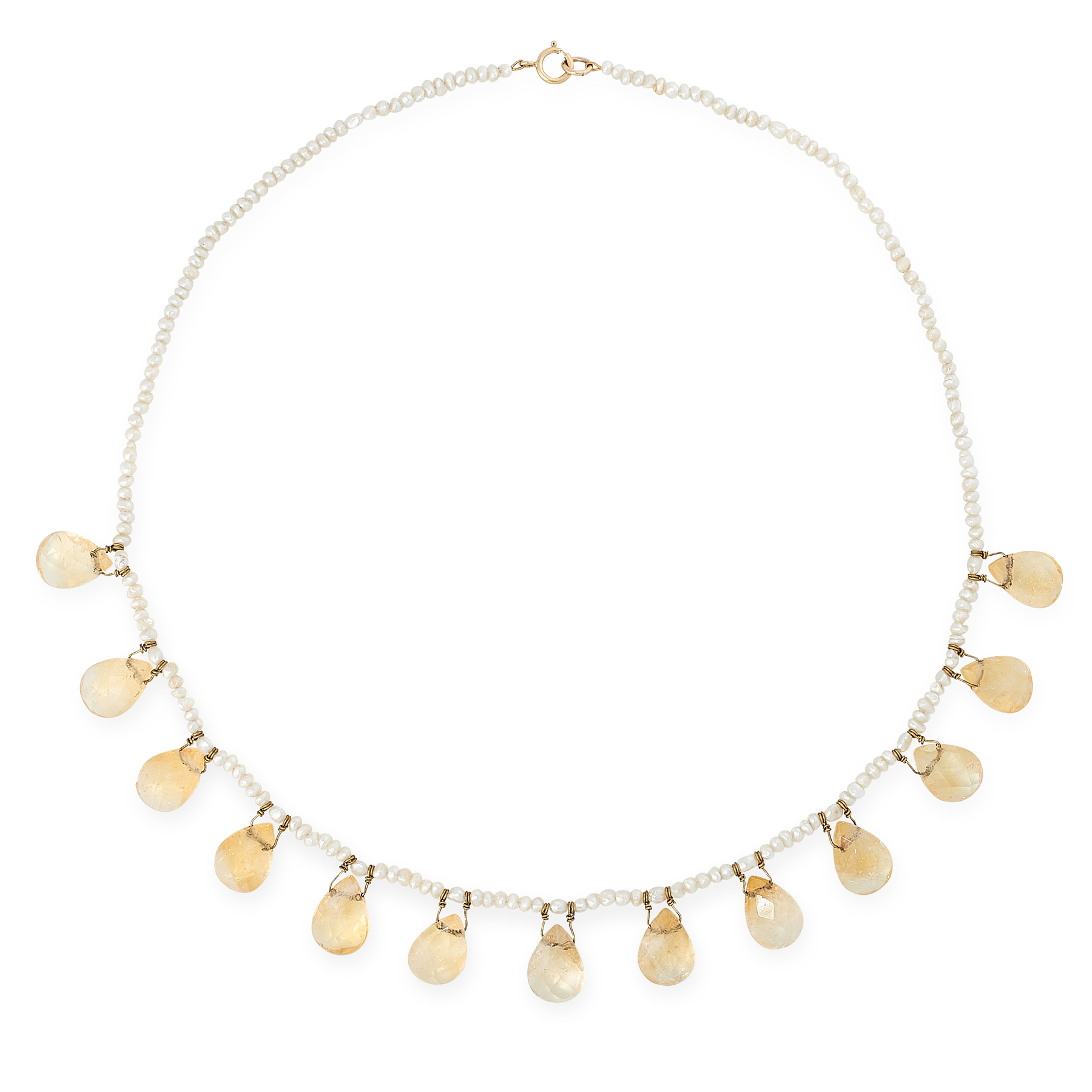 AN ANTIQUE CITRINE AND PEARL NECKLACE, 19TH CENTURY comprising a single row of seed pearls