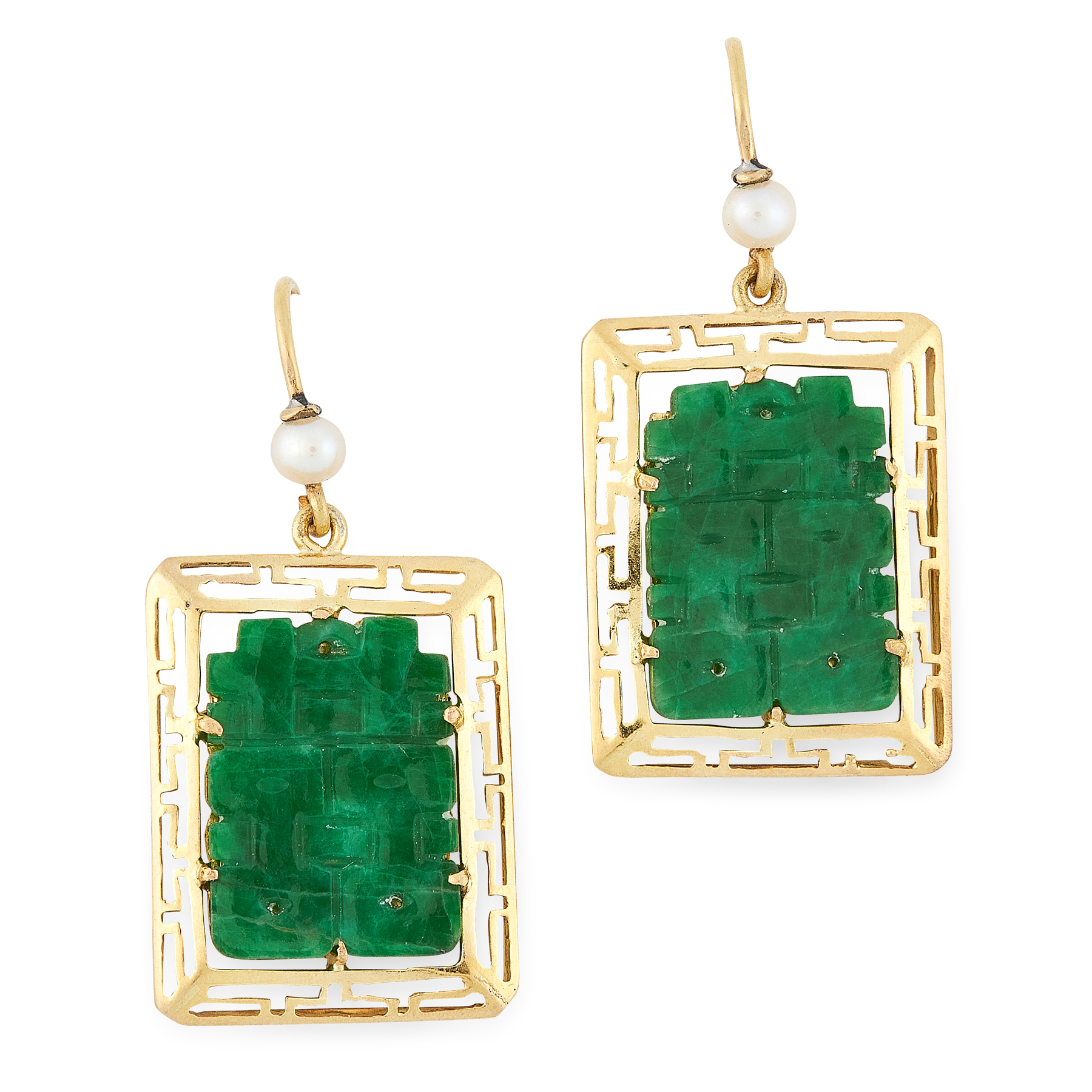 A PAIR OF CHINESE JADEITE JADE AND PEARL EARRINGS in 18ct yellow gold, each set with a piece of