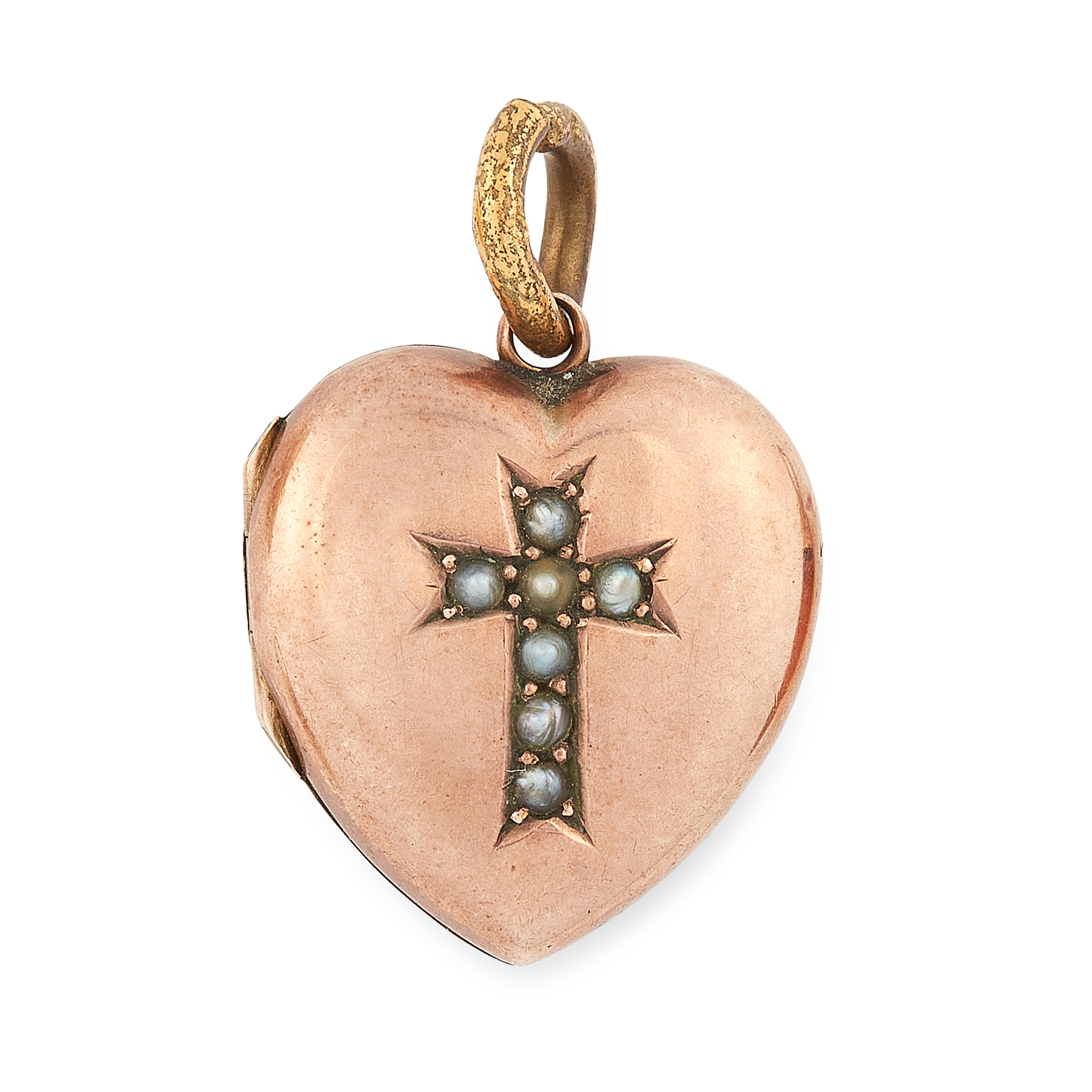 AN ANTIQUE PEARL LOCKET PENDANT in yellow gold, the hinged body in the form of a heart, with inset