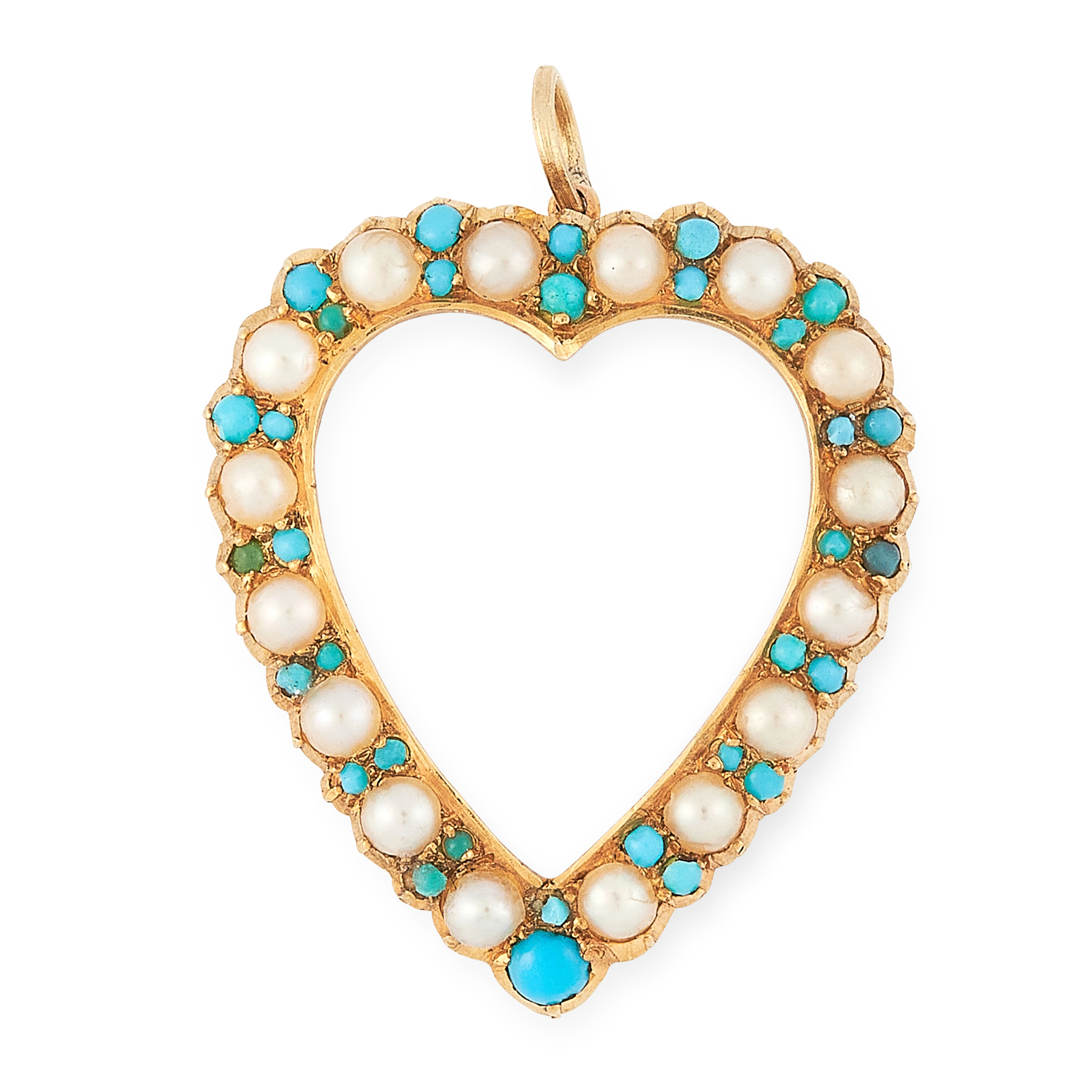 AN ANTIQUE TURQUOISE AND PEARL HEART PENDANT in 15ct yellow gold, designed as an open heart set with